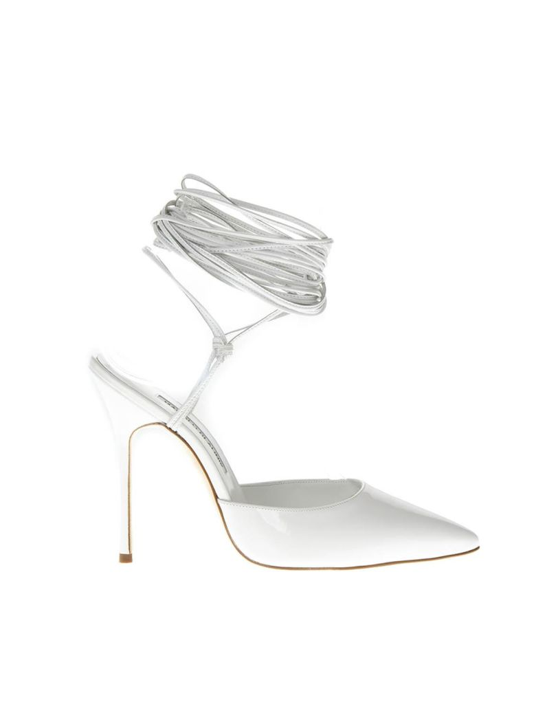 Manolo Blahnik Patent White High Leather Sandals - White