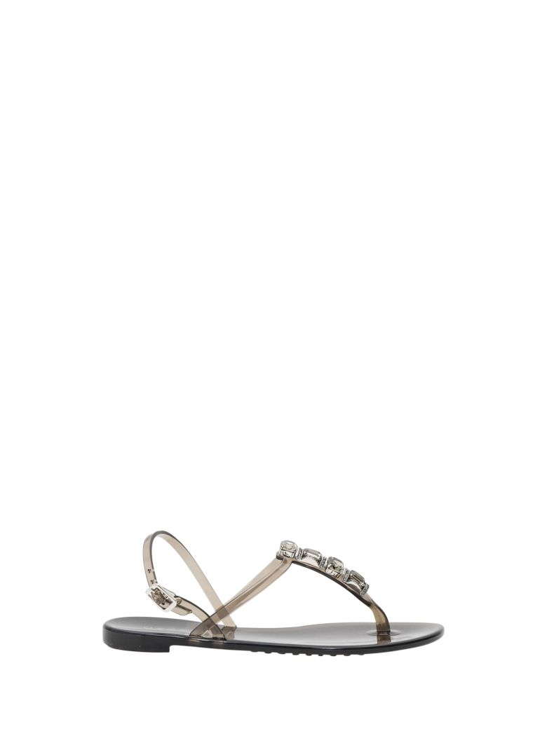 Casadei Jelly Sandals With Stones - Nero