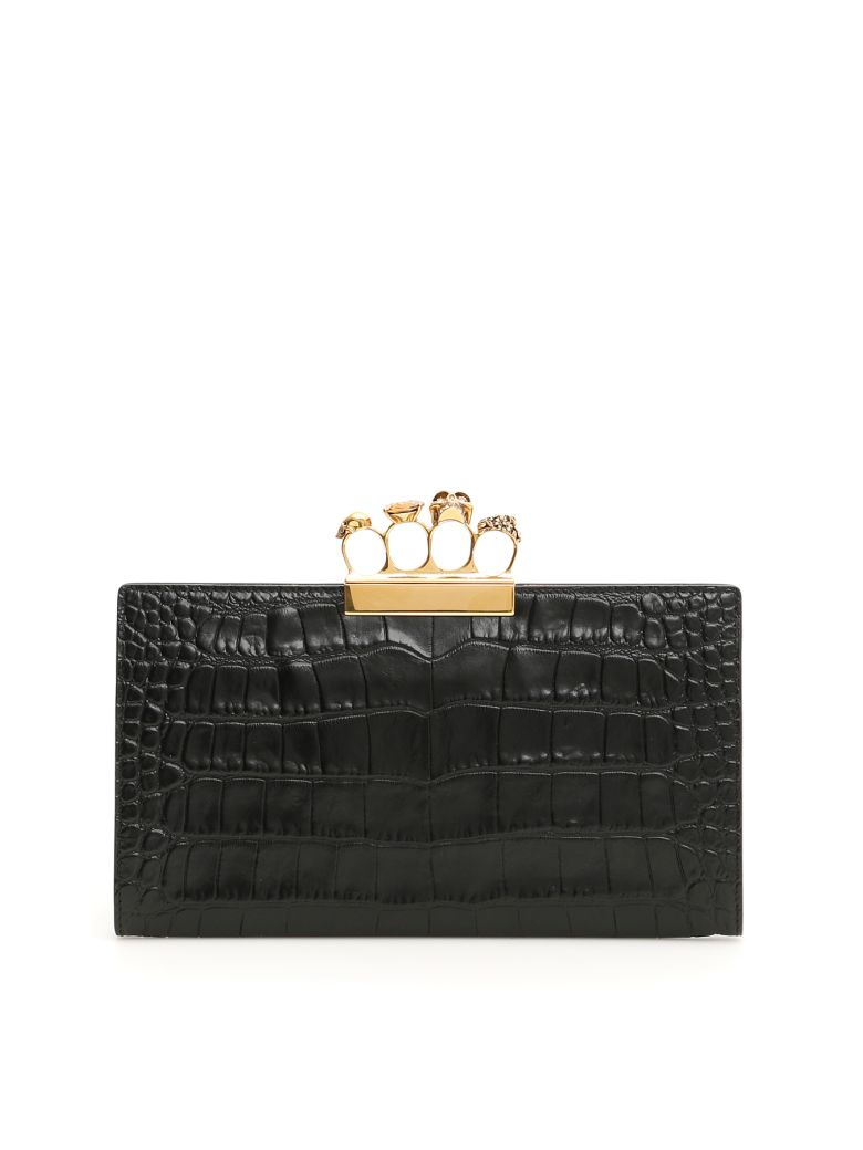 Alexander McQueen Skull Clutch With Four Rings - BLACK (Black)