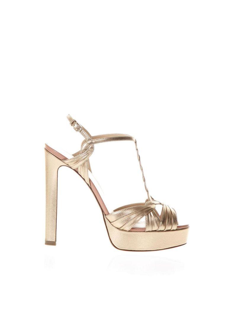 Francesco Russo Pink Gold Metal Strappy Sandals - Pink/gold