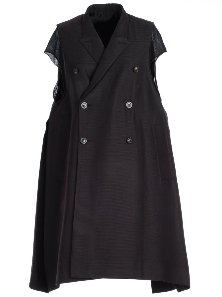 Rick Owens Double Breasted Coat - Black