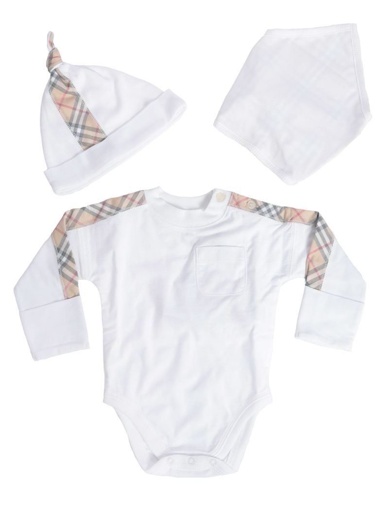 Burberry Kids House Check Detail Short Rompers And Cap Set