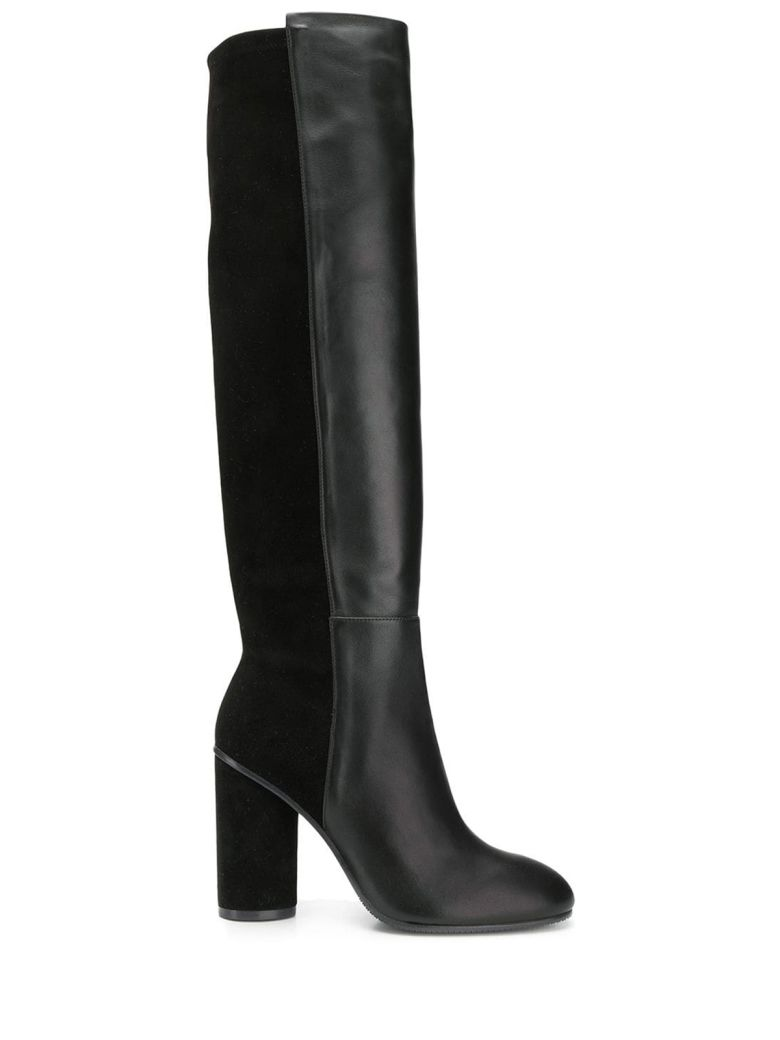 Stuart Weitzman Eloise 95 Suede And Leather Boots - Nero