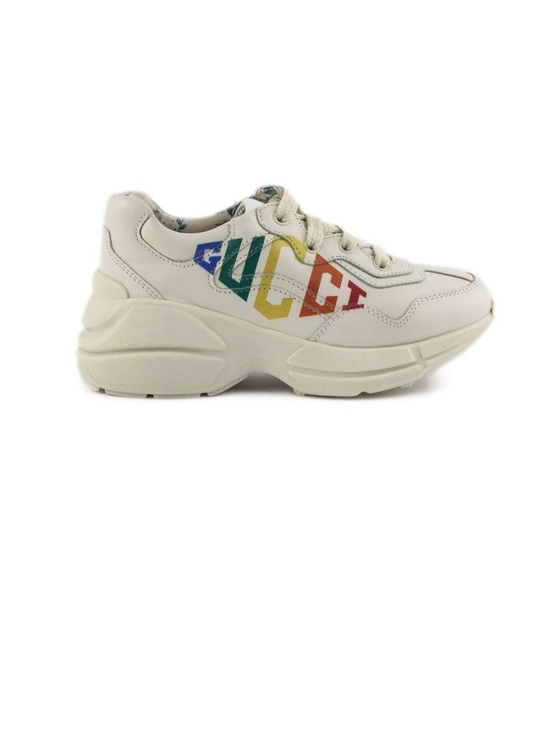 Gucci White Leather Rhyton Sneaker - Bianco