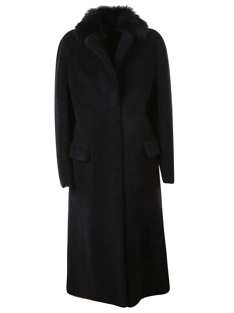 Blancha Fur Trimmed Long Coat - Navy