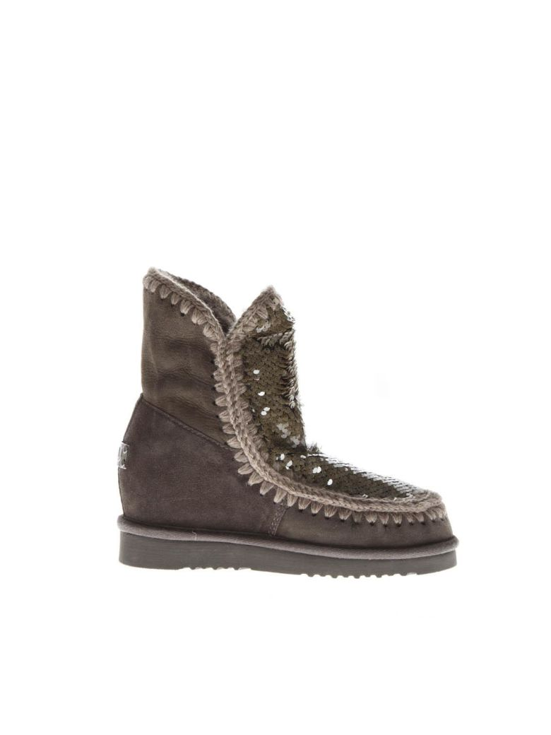 Mou Eskimo Mud Suede Sequins Boots - Brown