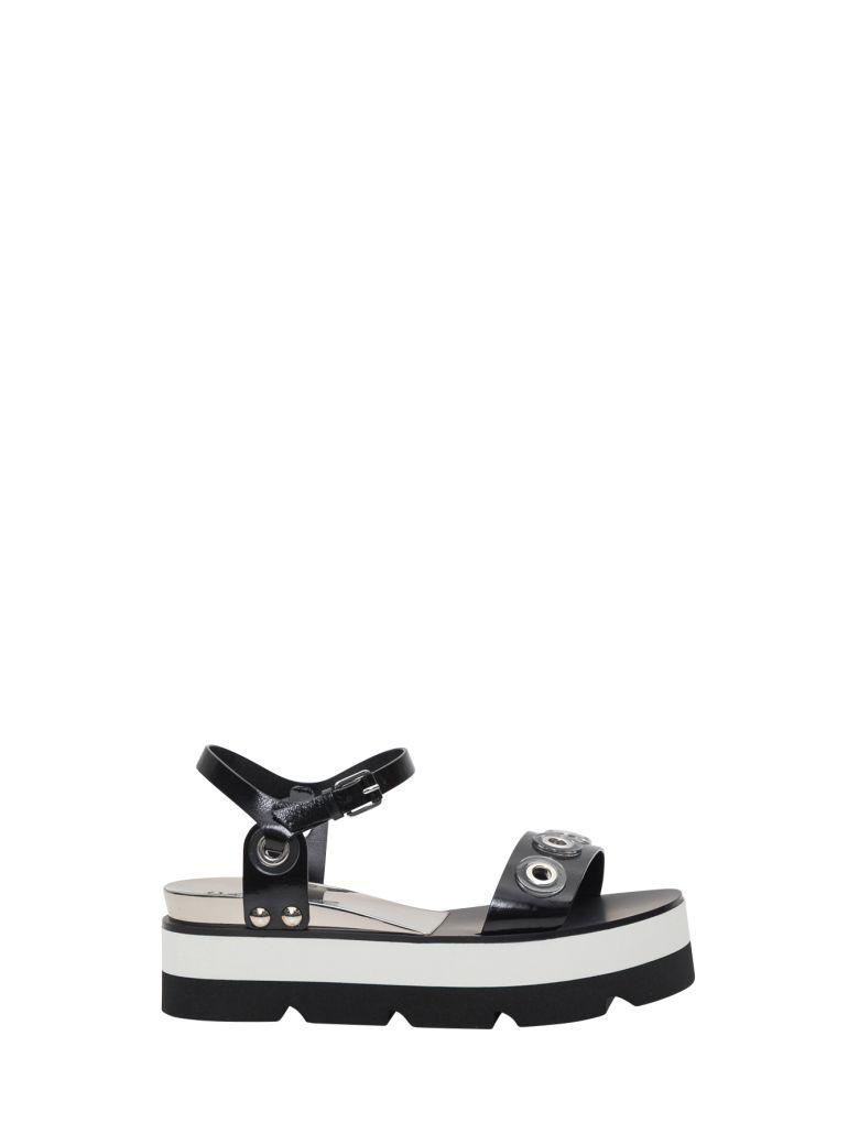 Casadei Platform Sandals With Pierced Studs - Nero