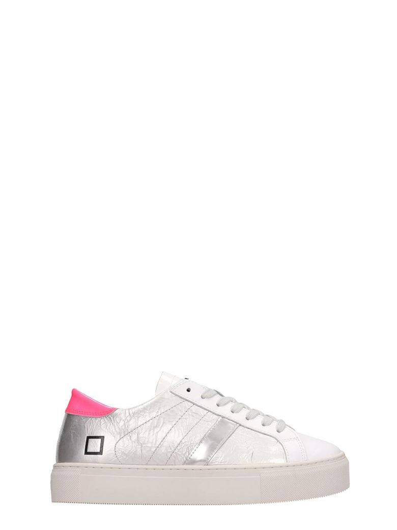 D.A.T.E. White Silver Leather Hill Low Sneakers - White
