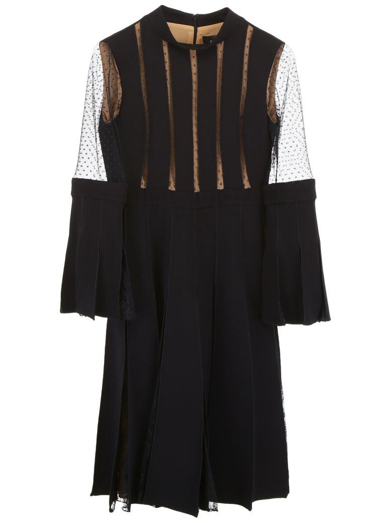 Capucci Plissé Dress With Lace - BLACK (Black)