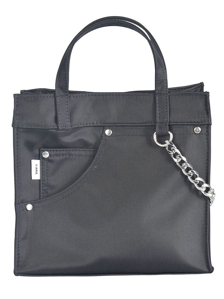 Kara Side Pocket Detail Tote - Nero