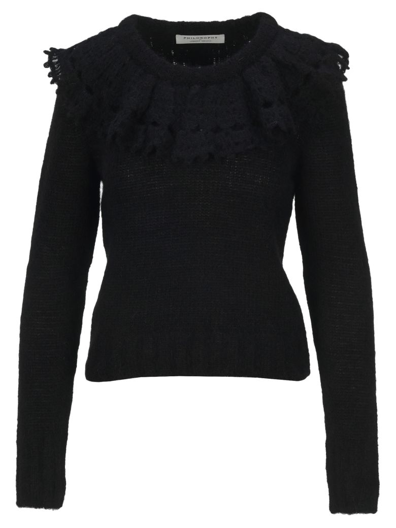 Philosophy di Lorenzo Serafini Philosophy Ruches Collar Sweater - BLACK