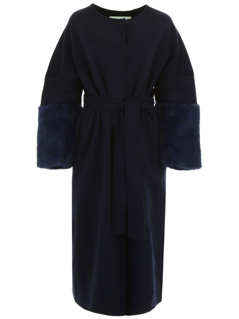 Ava Adore WOOL COAT WITH MINK SLEEVES