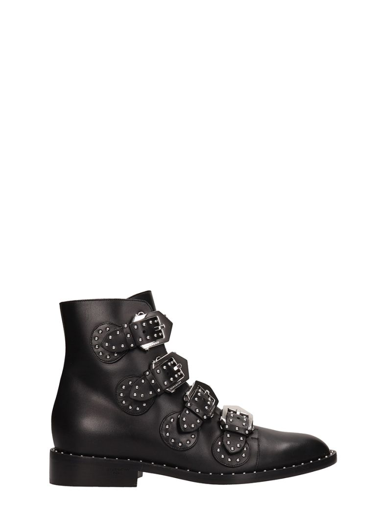 Givenchy Elegant Flat Black Leather Ankle Boots - black