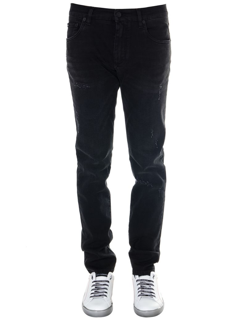 Dolce & Gabbana Black Cotton Tears Jeans - Black
