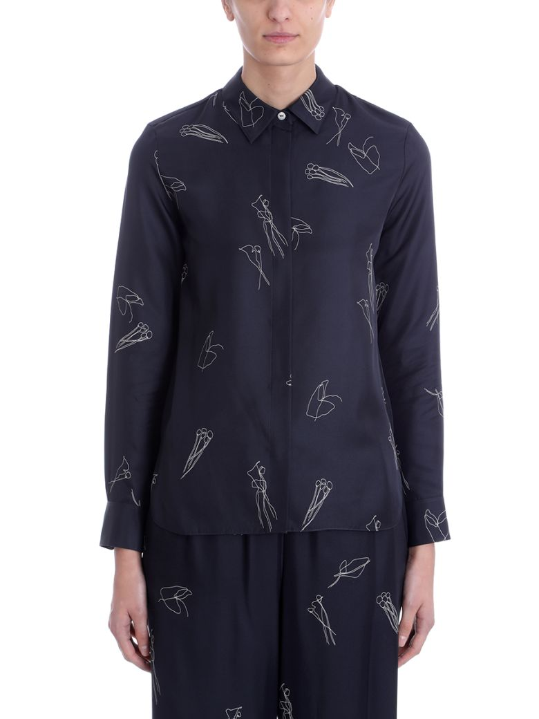 Theory Black Silk Concealed Front Shirt - black
