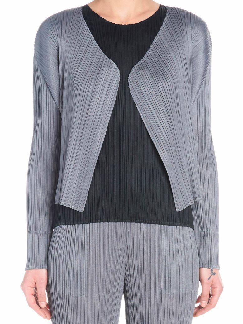 Pleats Please Issey Miyake 'basic' Cardigan - Grey