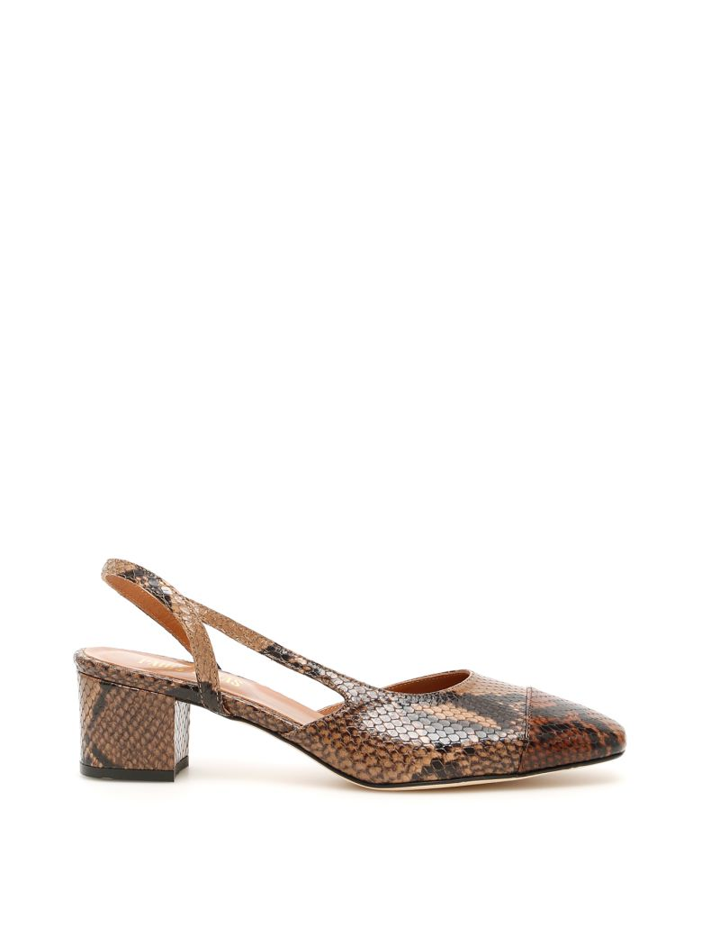 Paris Texas Python-print Slingbacks - BROWN CAMEL (Brown)