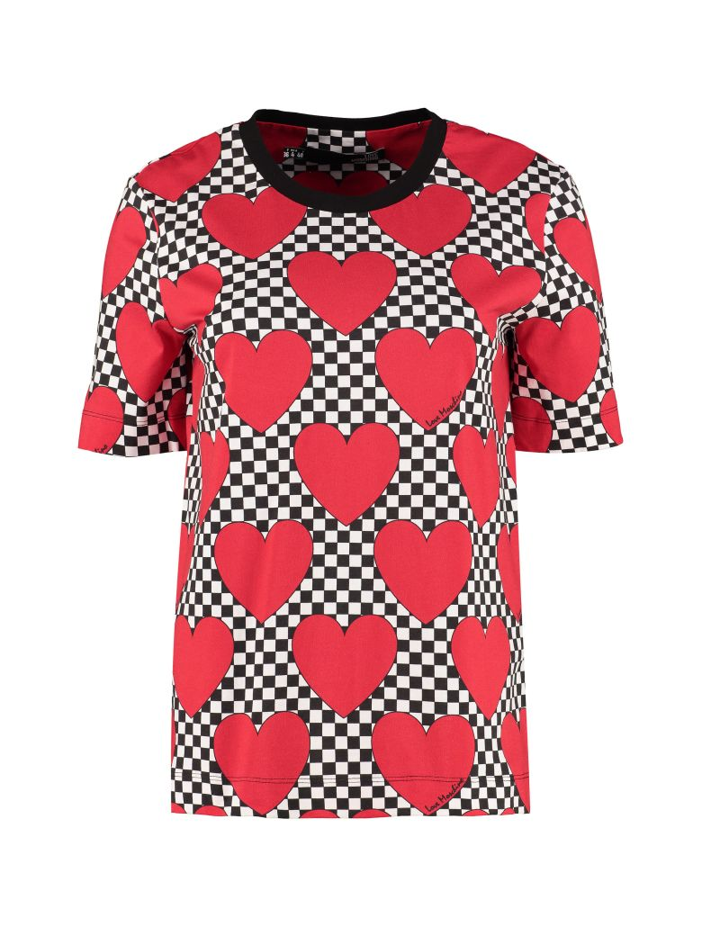 Love Moschino Printed Cotton T-shirt - red