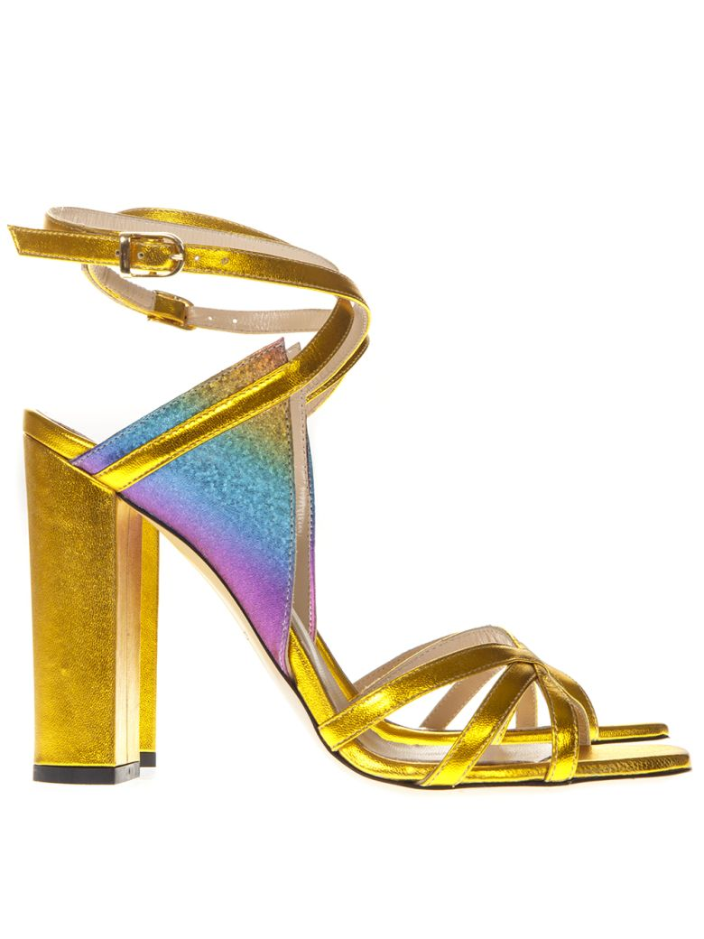 Marc Ellis Laminated Gold Leather Multicolor Insert Sandals - Gold