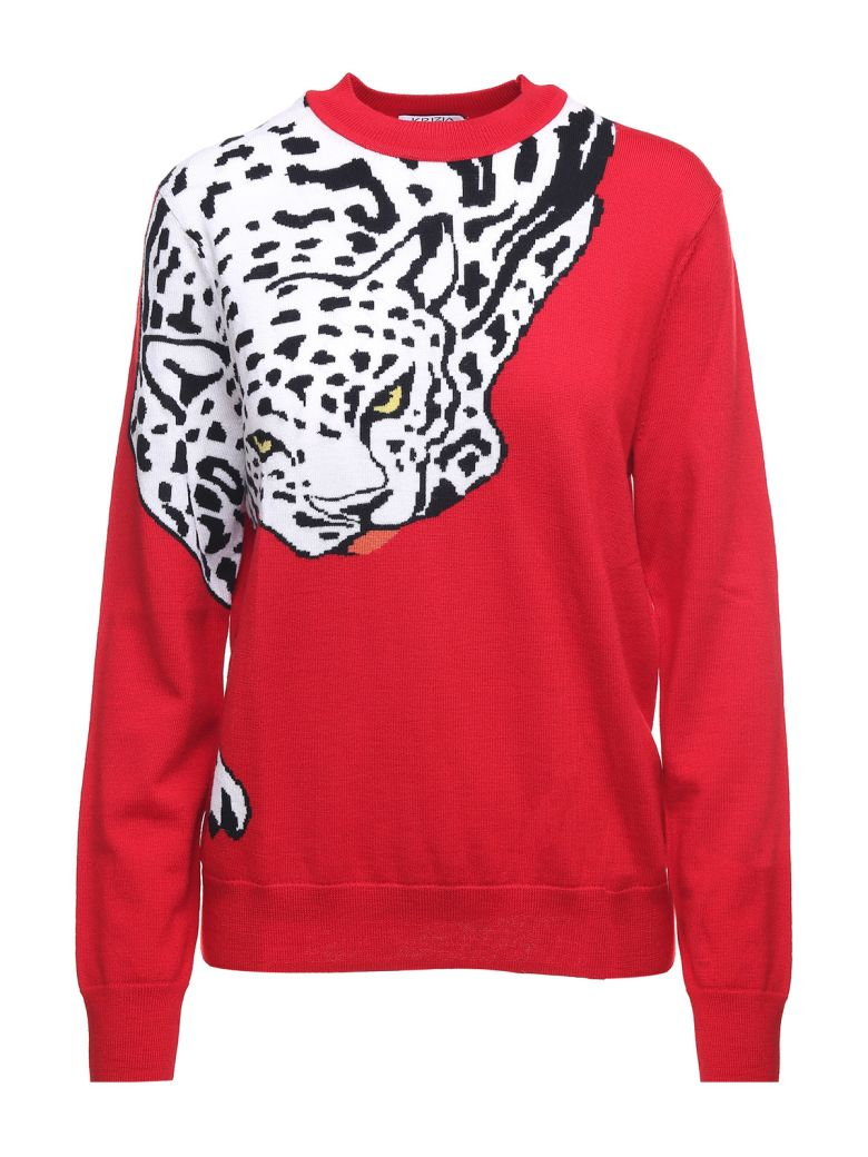 Krizia Leopard-intarsia Wool-knit Sweater - Rosso
