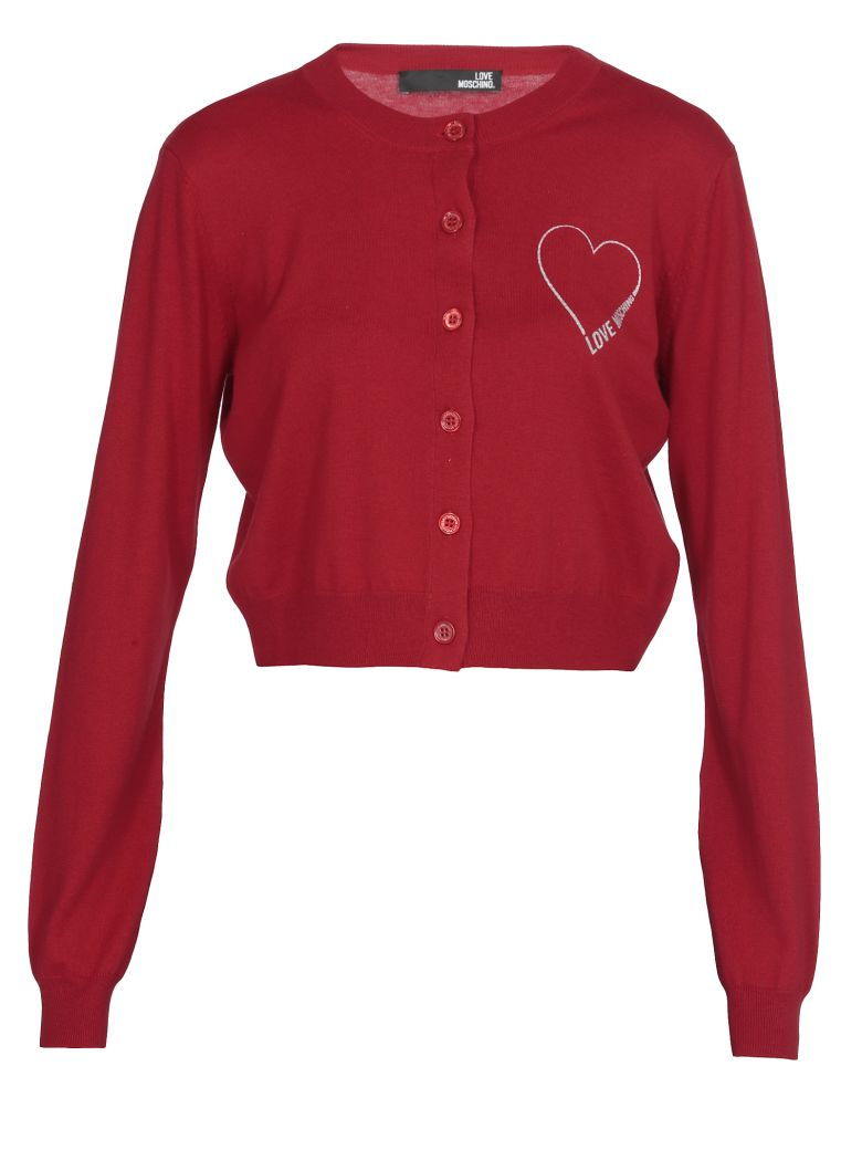 Love Moschino Silk And Cotton Cardigan - RED