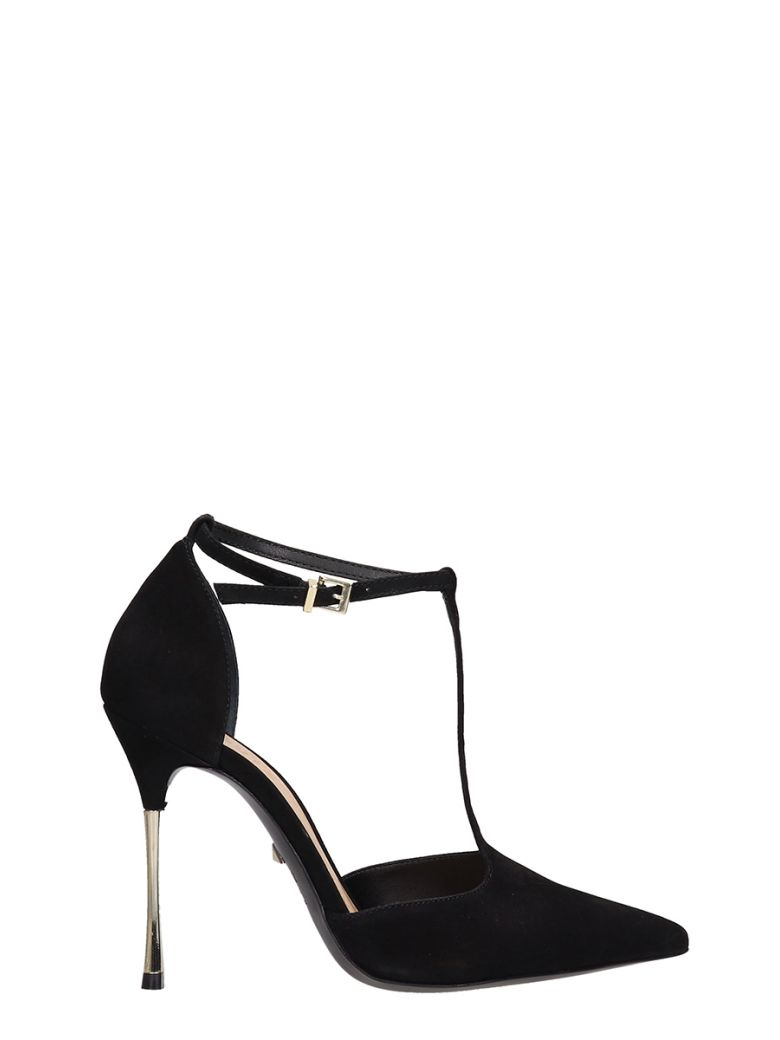 Schutz Black Suede Sandals - black