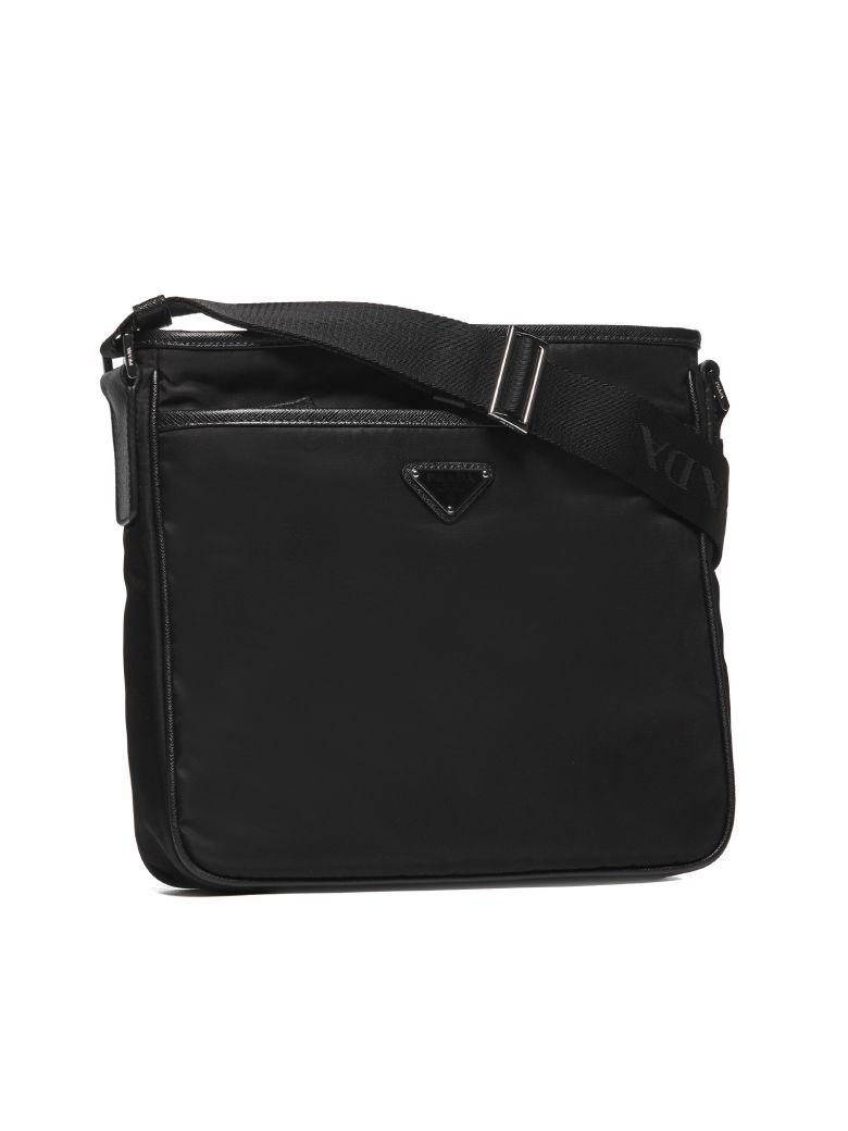 Prada Logo Plaque Messenger Shoulder Bag - Nero