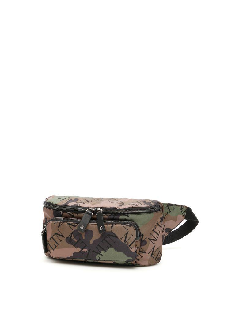 Valentino Vltn Camouflage Beltbag - ARMY GREEN BRUSH WOOD NERO (Brown)