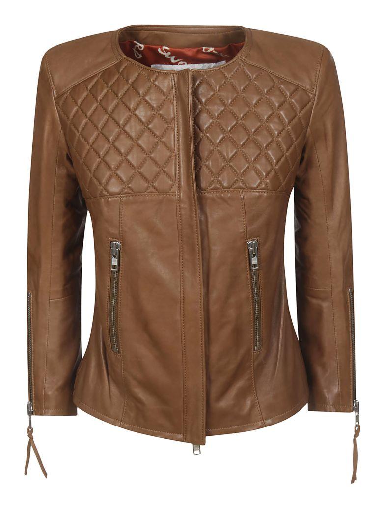 S.W.O.R.D 6.6.44 Zip-up Leather Jacket - Cognac