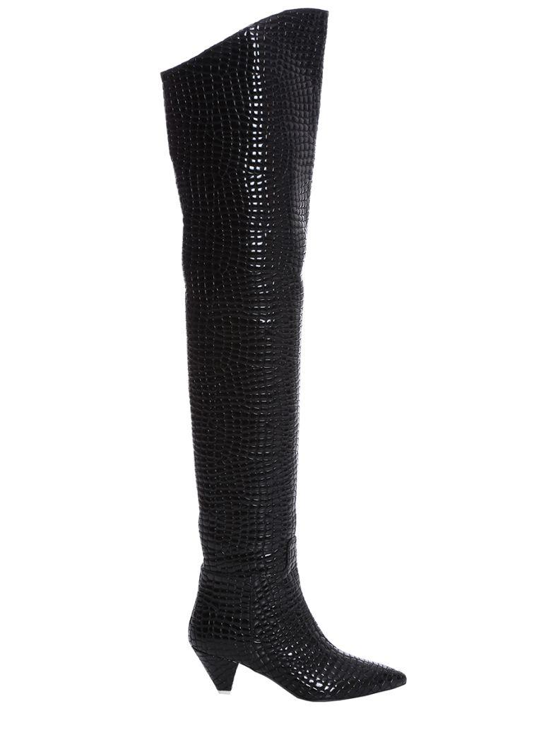 ATTICO Black Leather Knee Length Boots - black