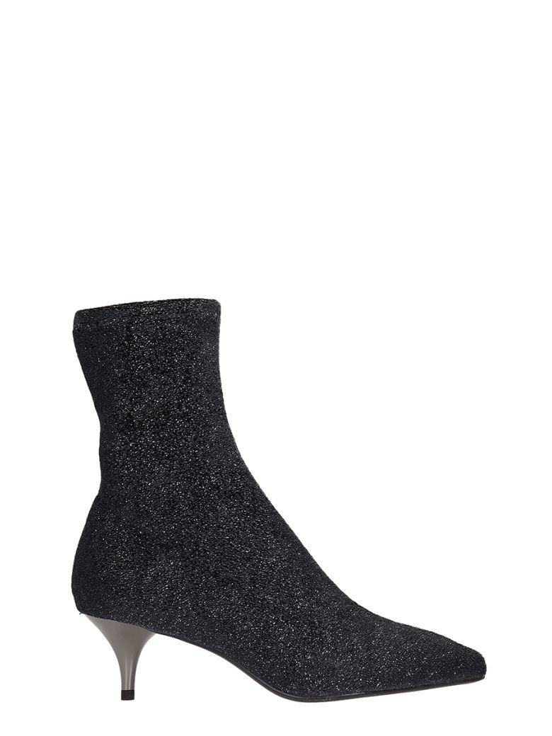 Lola Cruz Grey Glitter Fabric Ankle Boots - grey