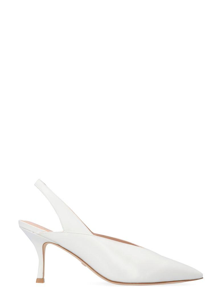 Stuart Weitzman Avianna Leather Slingback Pumps - White