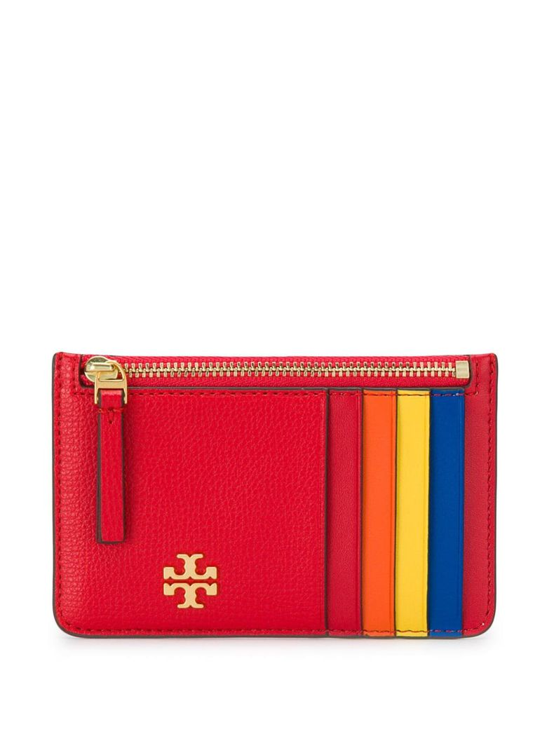 Tory Burch Color-block Card Holder - Brilliant Red