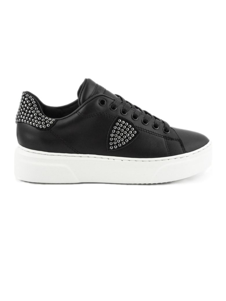 Philippe Model Black Leather Temple Femme Sneaker - Black
