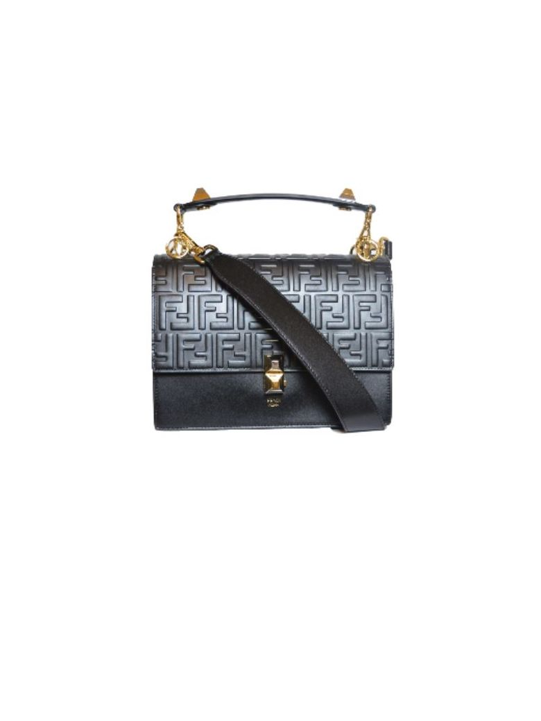 Fendi Kan I Logo Big Bag Wit On The Handle There Are 2 Dust And On The Latch As Well. On The Top The Bag The Is The Logo In Elevetion. On The Lower Is Smoot - Kur Black Gold Soft