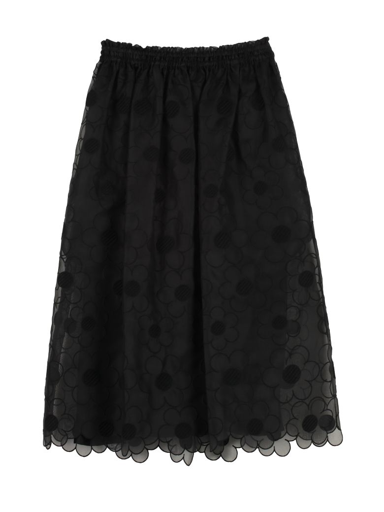 Moncler Floral Embroidery Skirt - black