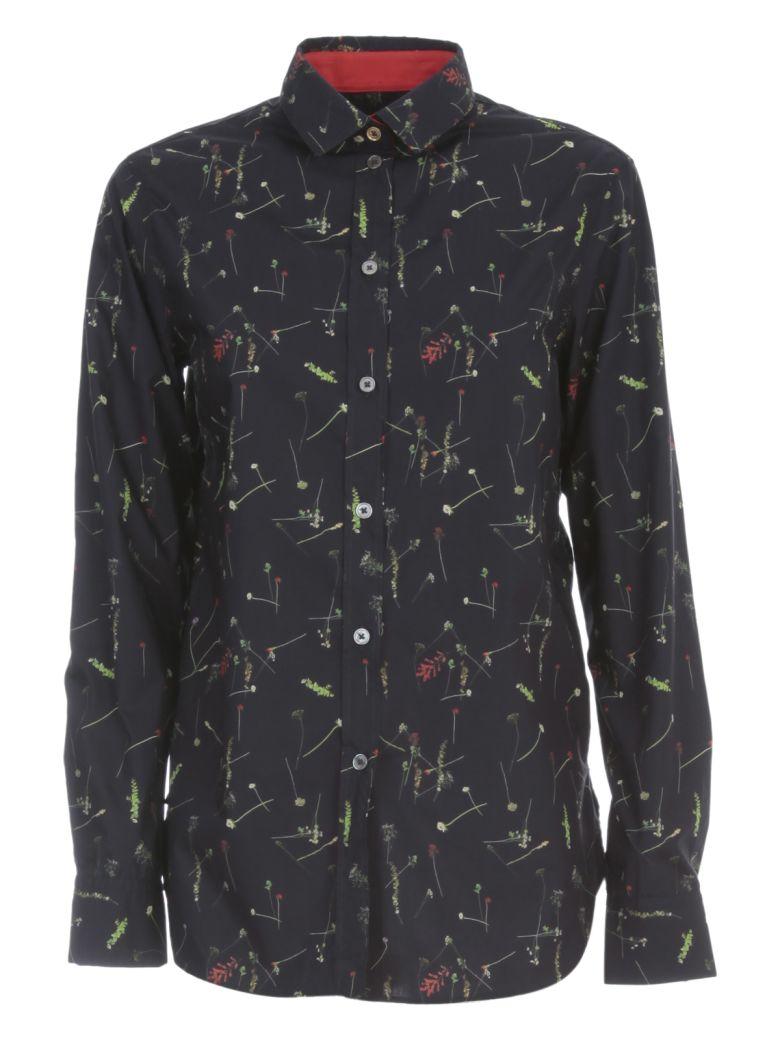Paul Smith Shirt L/s Rounded Bottom Micro Fantasy - Navy