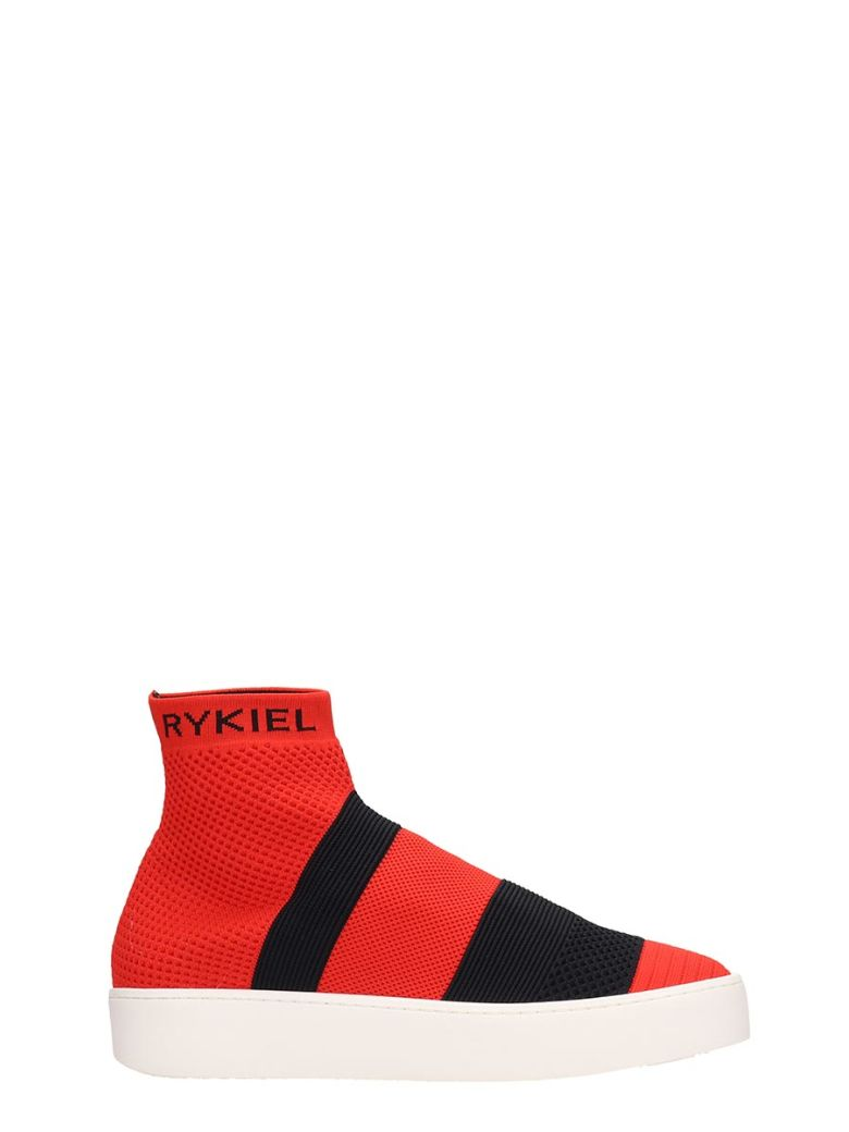 Sonia Rykiel Red Canvas Siglage Sneakers - red