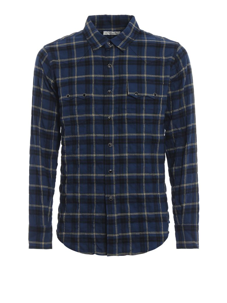 Saint Laurent Check Printed Shirt - Blue/yellow Check