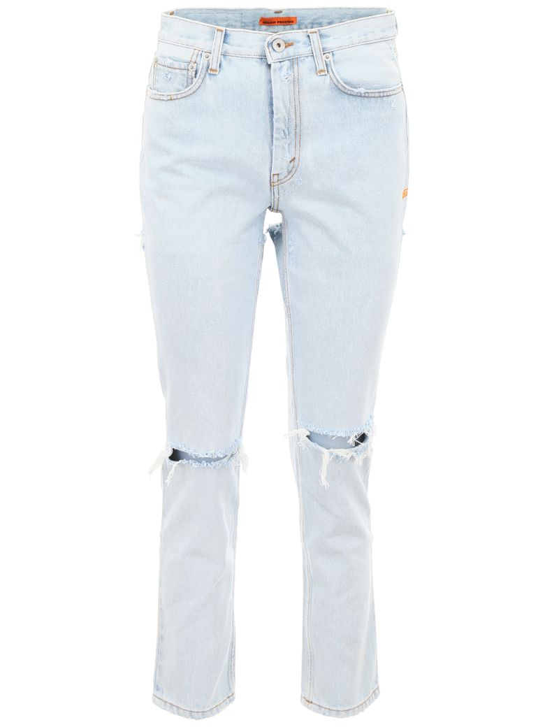 HERON PRESTON Cut-out Jeans - BLEACH ORANGE (Blue)