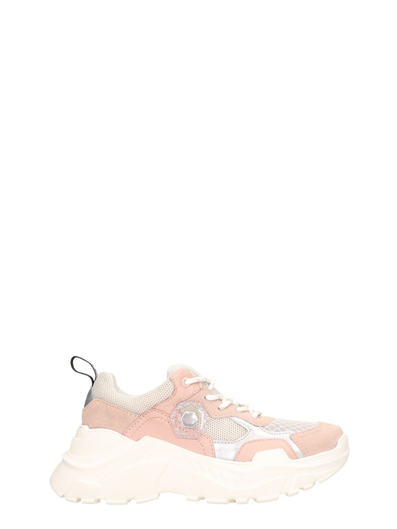 M.O.A. master of arts Pink Suede And Fabric Runnig Kar Sneakers - rose-pink