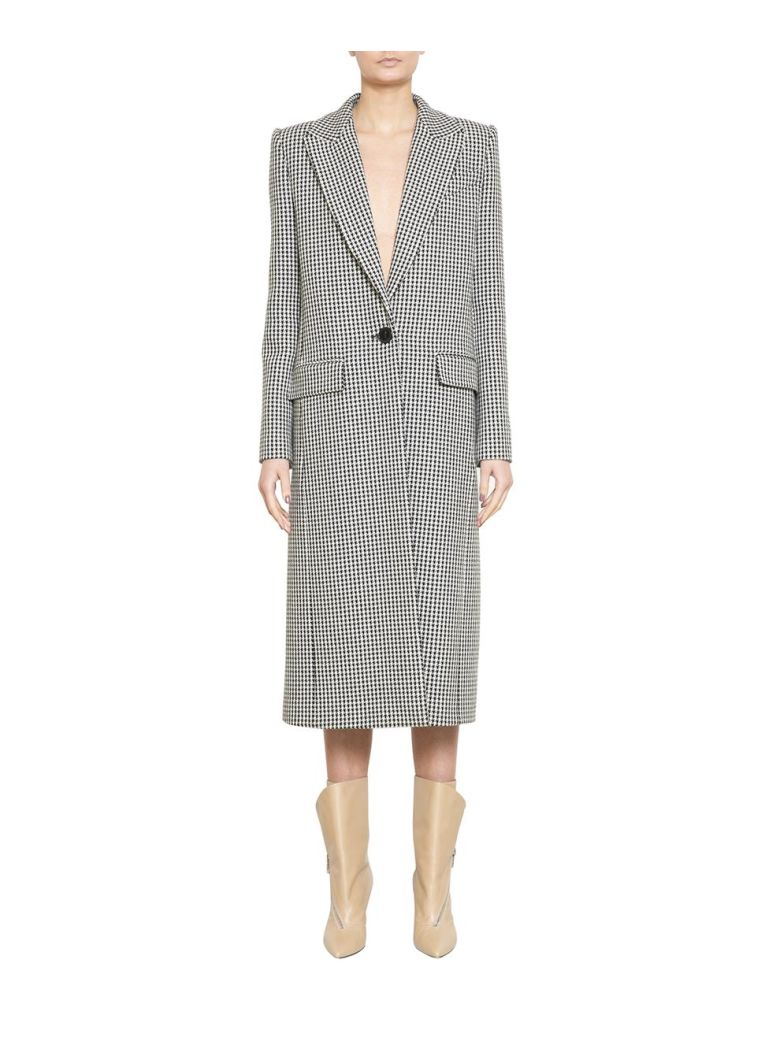 Givenchy Houndstooth Wool Coat - NERO