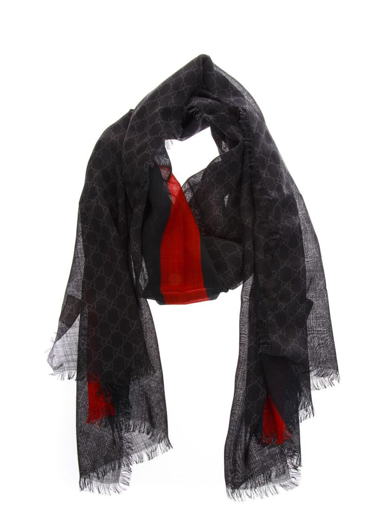 Gucci Black Wool All Over Gg Scarf - Black/red