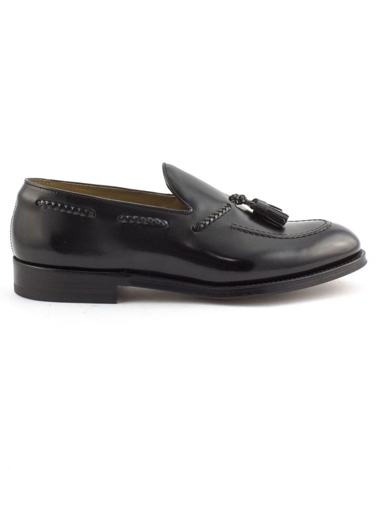 Doucal's Black Semi-glossy Leather Loafer - Nero