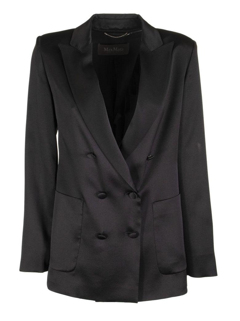 Max Mara Glauco Double Breasted Silk Jacket - Black