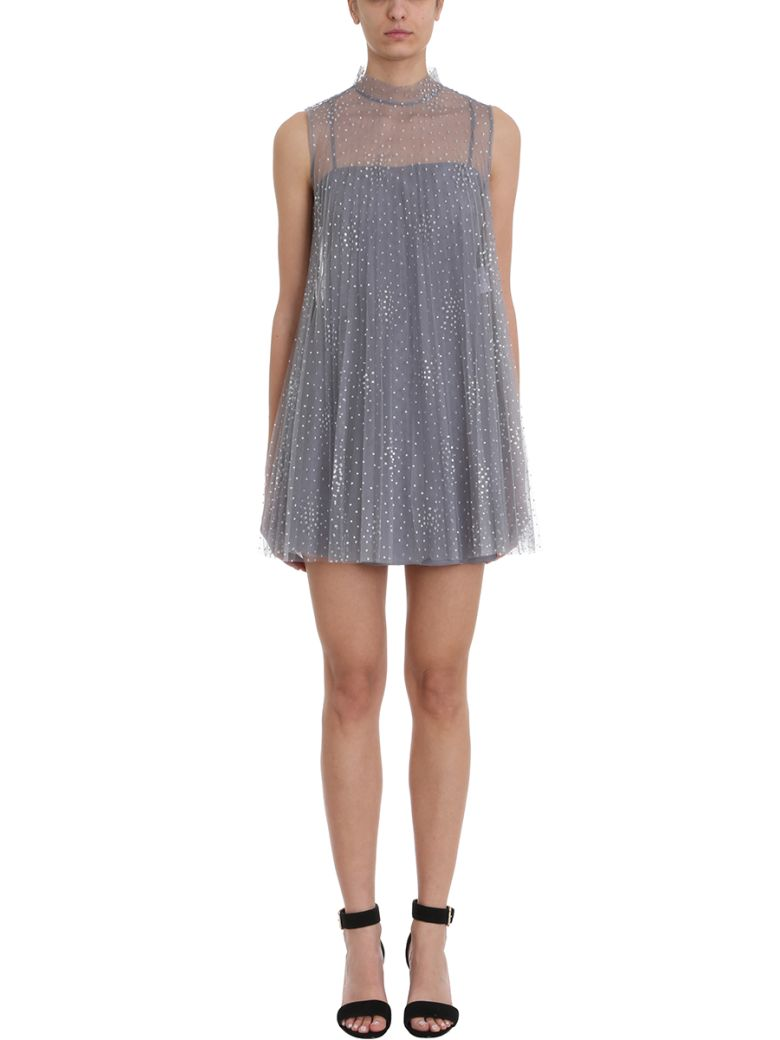 RED Valentino Silver Glitter Polka-dot Tulle Dress - grey