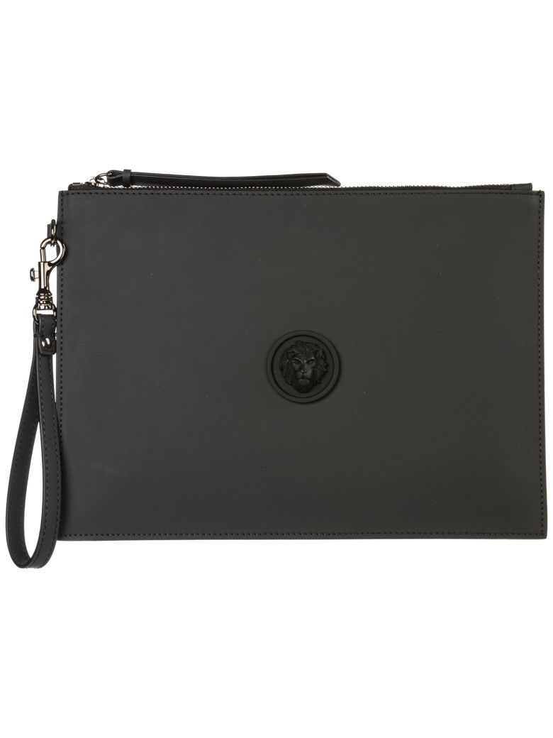 Versus Versace  Leather Clutch Handbag Bag Purse Lion Head - Nero
