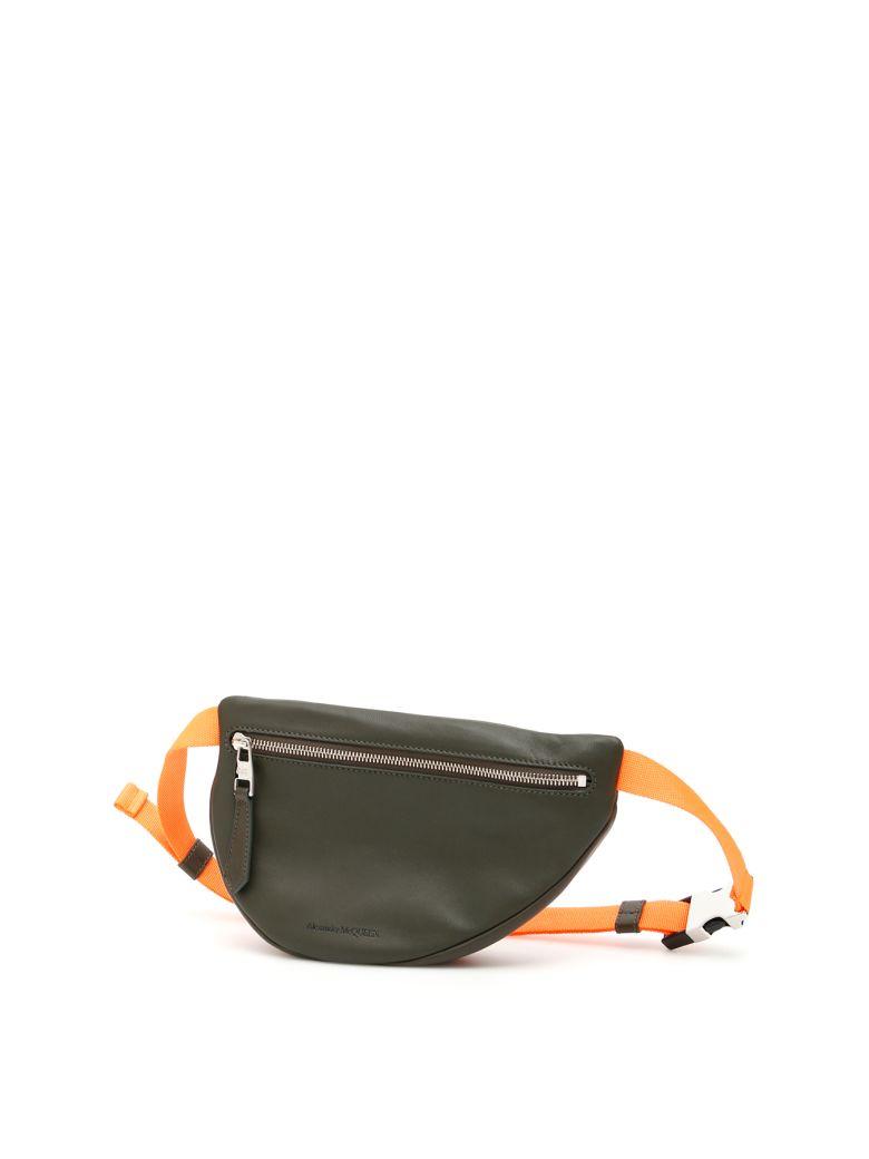 Alexander McQueen Asymmetric Belt Bag - DK OLIVE FLUO ORANGE|Verde