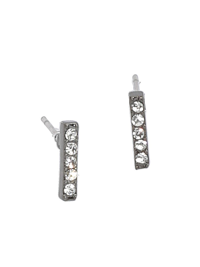 Federica Tosi Lobo Mini Line Earrings - GUN METAL PLATED STRASS SILK