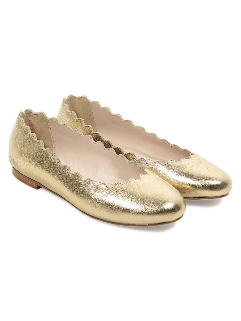 Chloé Chloé Golden Metallic Leather Lauren Ballerinas
